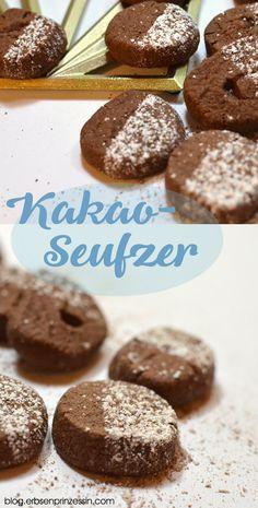 Kakaoseufzer: Die zergehen auf der Zunge! Schokoladiges Plätzchenrezept für Weihnachten, geht auch vegan #kekse #backen #weihnachtsbäckerei #weihnachtsplätzchen #schokokekse