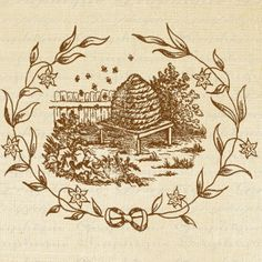 Beehive Bee Skep Flower Frame Bees Digital Image Download Sheet Transfer To Pillows Totes Tea Towels Burlap No. 2122. $1.00, via Etsy.