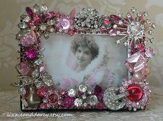 Repurposed Vintage Jewelry Framed Mirror
