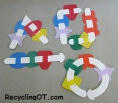 Removing shapes from weaving strips is a great way to introduce children to weaving. Many typically developing ye. Basic Shapes, Color Shapes, Gross Motor, Fine Motor, Ot Therapy, Therapy Ideas, Geriatric Occupational Therapy, Teaching Shapes, Pediatric Ot