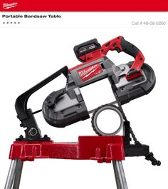 """Milwaukee Portable Bandsaw Table 48-08-0260 $278 ~ Make Legs with 3/4"""" pipe not included."""