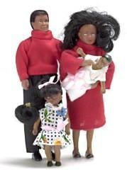 4Pc Black Doll Family - Modern
