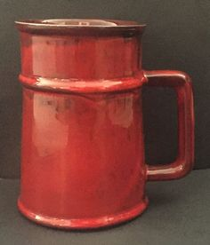 Deep Red Mug Cup Stein Tall Black Accent Glazed Pottery Drinkware Maroon #Unbranded