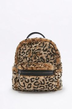 Faux-Fur Leopard Mini Backack