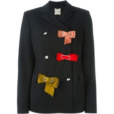 Lanvin bow detail blazer (91 710 UAH) ❤ liked on Polyvore featuring outerwear, jackets, blazers, black, lapel jacket, double breasted jacket, bow jacket, long sleeve jacket and lanvin