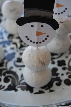 donut hole snowmen -- too cute