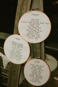 Embroidery hoops / escort cards decoration - Sydney, Australia Wedding from Leah Kua