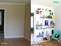 Quick and easy to build DIY built-in style modern shelving / action figure / comic book display.