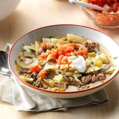 Mexican Cabbage Roll Soup Recipe -I love sharing our humble and hearty soup made with beef, cabbage and green chilies. A blast of cilantro gives it a sunshiny finish. Easy Soup Recipes, Dinner Recipes, Cooking Recipes, Healthy Recipes, Meat Recipes, Dinner Ideas, Chowder Recipes, Hamburger Recipes, Healthy Meals