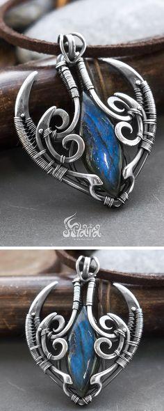Blue labradorite fantasy elven pendant necklace