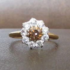 Antique Intense Fancy Brown and Bright White Old by Ringtique