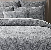 Amal Embroidered Linen Duvet Cover