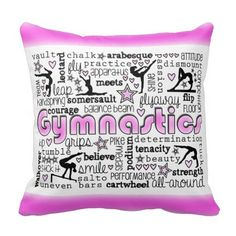 Gymnastics terms throw pillow room decor with gymnast silhouettes and words related to gymnastics. Words such as balance beam, vault, uneven bars, floor, tumble, stick it, chalk, team, tuck, handspring, walkover, and so much more! #gymnastics