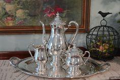 Silver Plate Tea Service  4 Piece Silver Tea Set  by PearlsParlor