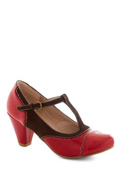 Dance on Air Heel in Cherry by Chelsea Crew - Red, Solid, Cutout, Scallops, Vintage Inspired, 20s, 30s, Mid, Faux Leather, Brown, Party, Work, 40s, Variation