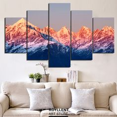 sonw mountain / 5 pieces canvas printed painting
