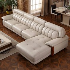 Home Decoration; Leather sofa;Three Seat Sofa;Two-seat Sofa Corner Sofa Living Room, Living Room Sofa Design, Living Room Designs, Wooden Sofa Designs, Sofa Set Designs, Sofa Upholstery, Fabric Sofa, White Sofa Set, Corner Sofa Design