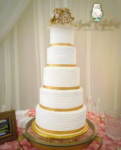 Sweet Confections Custom Cakes Alexandria La Gold Wedding Cake