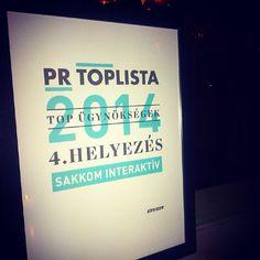 A SAKKOM Interaktív 4. helyezést ért el a PR Toplistán! A Kreatív, az MPRSZ és a MAKSZ pr-tagozat támogatásával idén először készítették el a pr-ügynökségek versenyeredményeit összesítő Pr Toplistát.