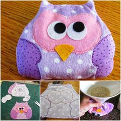 Be wise and make this owl heat bag instead of a plain heat bag and add a bit of fun this winter. Sewing Crafts, Sewing Projects, Craft Projects, Diy Crafts, Craft Ideas, Owl Sewing, Sewing Ideas, Sewing Patterns, Crochet Patterns