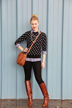 Polka dots + chambray + black