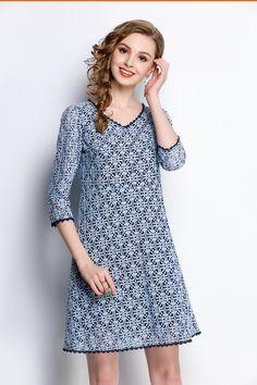 Blue Lace V-Neck 3 4 Sleeve Tunic Dress  plussize  crafteastiq   801bcb5140e2