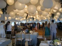 Tent versiering/ verlichting door lampionnen met led lichtje.