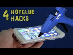 Somewhat WACKY made with a hot glue gun - 1)Hook made from a coat hanger hot glued (lots of glue) to concrete wall- held w/ weighty items. 2) CELL PHONE CASE - my idea: once case is formed attach other material to decorate  3) glue SPIDER WEB -may keep other insects at bay  4) braided glue strand ??? for what purpose???     YouTube