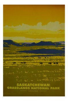 "Saskatchewan travel sticker ""Travel teaches tolerance"" – Benjamin Disraeli saskatchewan,grasslands,national,park,parc,canada,kanada, Michel De Montaigne, Travel Sticker, Parcs Canada, Canada National Parks, Tourism Poster, National Park Posters, Park Art, Retro Color, Travel And Tourism"