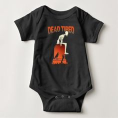 Funny Dead Tired Skeleton Halloween Party T-shirt - baby birthday sweet gift idea special customize personalize