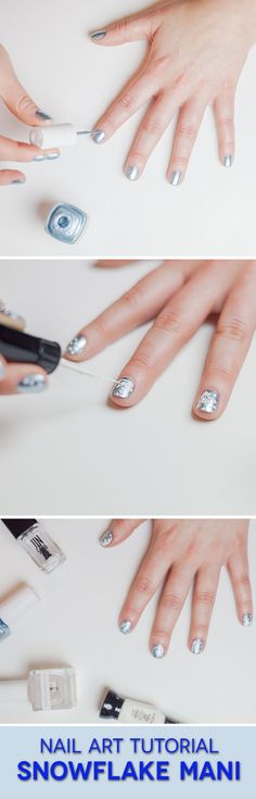 Snowflake nails! Perfect for the season.