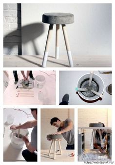 DIY Concrete Stool and 21 other really awesome cement projects. Concrete Stool, Concrete Furniture, Concrete Planters, Diy Furniture, Concrete Bar, Polished Concrete, Beton Design, Concrete Design, Diy Stool