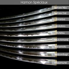 Hamon, clay patterns on Katana blades. Ronin Samurai, Samurai Weapons, Katana Swords, Samurai Swords, Knives And Swords, Japanese Blades, Japanese Sword, Sword Design, Concept Weapons