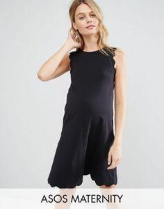 Vestido de corte recto con detalle festoneado de ASOS Maternity