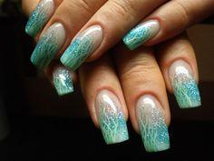 Nail Art Tuerkis Gruen Blau - blue green Nailart Fineliner Glitter