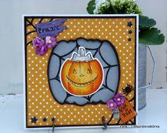 Art Impressions Rubber Stamps: Ai Spinners: Pumpkin Spinner (Sku #4676) and matching Pumpkin Die (Sku #4695) ... handmade Halloween card. Pumpkin, Jack-o-lantern, black cat, boo, interactive, spiderweb, beware, flowers, stars