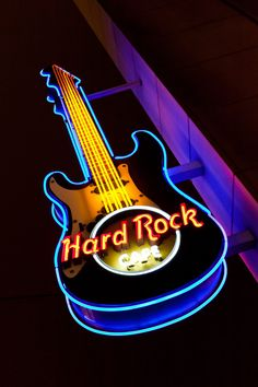 Hard Rock Cafe Cologne outside. I've been to the Köln one a few times. A friend's sister works there. Hard Rock, Las Vegas, Neon Words, Vintage Neon Signs, Jimi Hendrix Experience, Neon Nights, Neon Glow, Old Signs, Advertising Signs