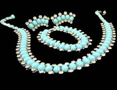 Kramer NY Turquoise and Rhinestone Necklace by EclecticVintager