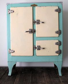 Vintage 1930's Ivory/Teal Ice Box by fowllanguage on Etsy 1150 USD