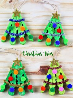 Clothespin Christmas Tree Craft - Christmas/Winter Crafts for Kids - Crafts Preschool Christmas, Christmas Ornament Crafts, Xmas Crafts, Christmas Projects, Kids Christmas, Christmas Gifts, Christmas Trees, Kids Holiday Crafts, Diy Crafts