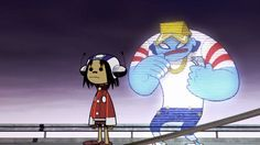 Gorillaz gifs- Noodle and Del the Funky Rap Phantom Wow. Noodle was so small!(no offense) Gorillaz Noodle, Gorillaz Art, Damon Albarn, 2d And Noodle, Sunshine In A Bag, Monkeys Band, Russel Hobbs, Jamie Hewlett, Band Memes