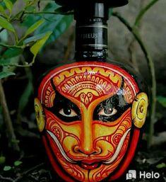 Plastic Bottle Crafts, Diy Bottle, Bottle Art, Glass Painting Designs, Paint Designs, Glass Bottles, Perfume Bottles, Architecture Drawing Sketchbooks, Kerala Mural Painting