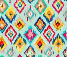 Hand Painted IKAT - aqua fabric by gypseeart on Spoonflower - custom fabric