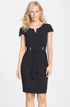 Free shipping and returns on Ellen Tracy Belted Stretch Sheath Dress (Regular & Petite) at Nordstrom.com. An architectural neckline, glinting chain details and handy pockets update a princess-seamed sheath dress infused with comfortable two-way stretch.