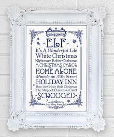 Christmas Movies Print, fab festive decoration £13.00 #Elf #WhiteChristmas