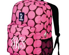 dec30bb07fd9 Monogram Backpack and Lunch Bag Set - Wildkin - Personalized - Big Dot Pink  - Back