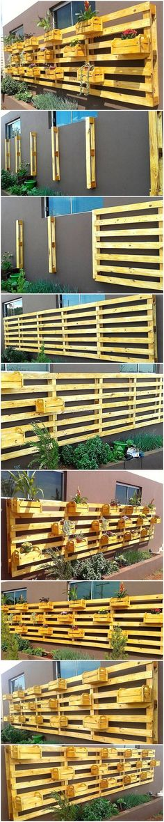 It's time to welcome your guest and visitors with an attractive impression through the placement of thesewood pallet verticle planters in your front yard and entryway.  #pallets #woodpallet #palletfurniture #palletproject #palletideas #recycle #recycledpallet #reclaimed #repurposed #reused #restore #upcycle #diy #palletart #pallet #recycling #upcycling #refurnish #recycled #woodwork #woodworking