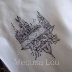 Hogwarts Castle inspired tattoo by Medusa Lou Tattoo Artist - medusa_lou@hotmail.com