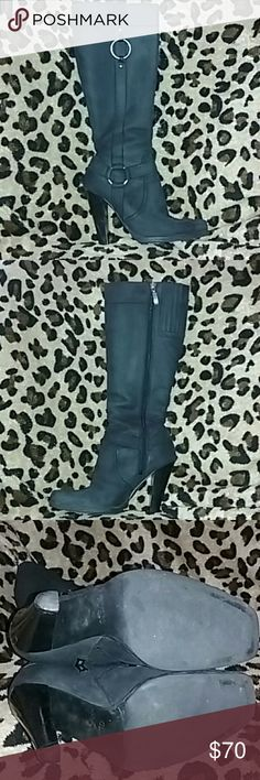 Vintage guess western boots Zipper on the side for easy access square-toed tips four and a half inch heel 17 inches from the foot to the top of the boot very good condition . very hard to find 1 GUESS Shoes Heeled Boots