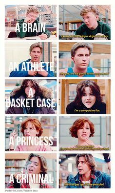 A Brain,A Jock, A Basket Case, A Princess, and A Criminal....We will always be known as The Breakfast Club